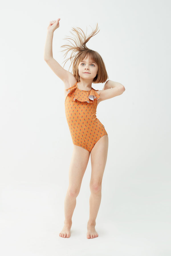 Oeuf Swimwear 6m Halter Bathing Suit - Ochre/Tulips