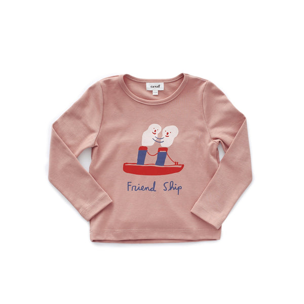 Oeuf Tops + Bodysuits 18m Long Sleeve Tee Shirt - Dark Pink/Friendship