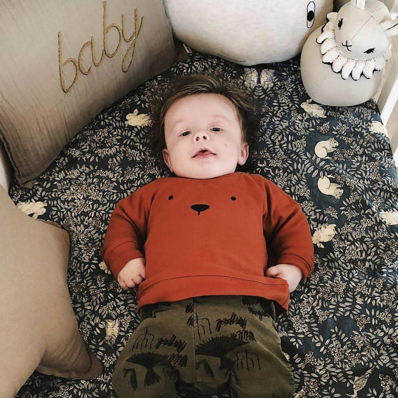 Organic Zoo Tops + Bodysuits 0-3m Rust BEAR Sweatshirt