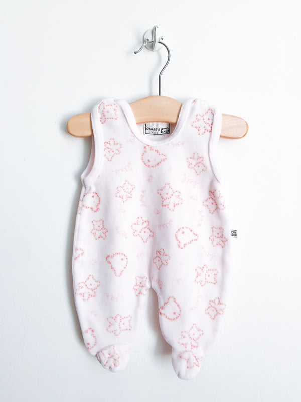 Oskar Rompers + Overalls Preemie / Gently Used Re-Cycle Pink Velour Bear Pattern Footed Overall