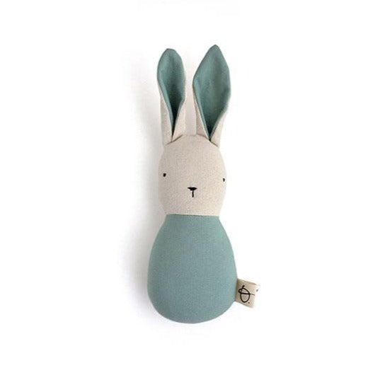 Ouistitine Toys One Size Bunny Rattle - Aqua
