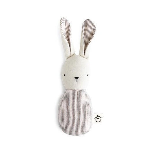 Ouistitine Toys One Size Bunny Rattle - Beige Stripes