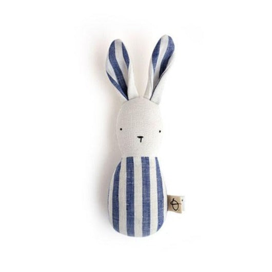 Ouistitine Toys One Size Bunny Rattle - Blue and White