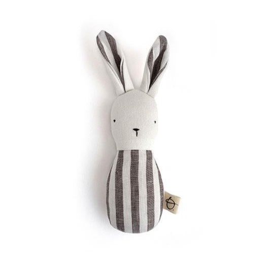 Ouistitine Toys One Size Bunny Rattle - Brown and White Stripe
