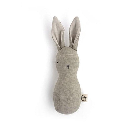 Ouistitine Toys One Size Bunny Rattle - Brown Linen