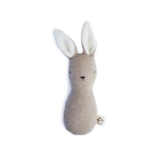 Ouistitine Toys One Size Bunny Rattle - Wool/Cashmere - Brown