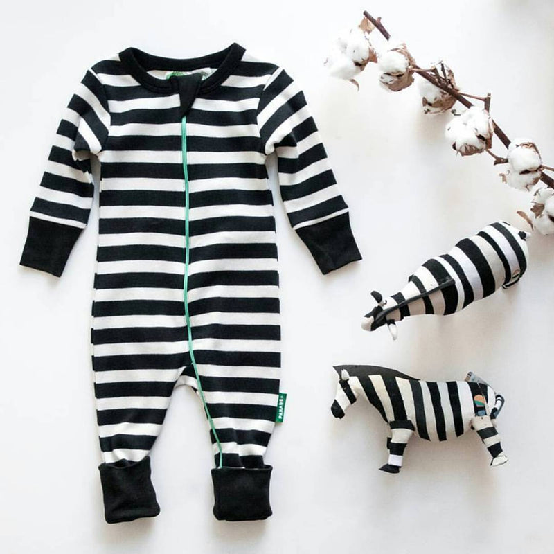 Parade Organics Pyjamas 0-3m Black Stripes Knit '2-Way' Zipper Romper