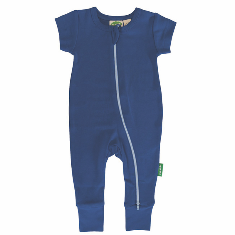 Parade Organics Pyjamas 0-3m Cobalt Blue '2-Way' Zipper Romper Short Sleeve