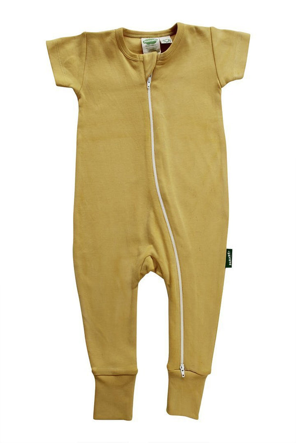 Parade Organics Pyjamas 0-3m Mustard '2-Way' Zipper Romper Short Sleeve