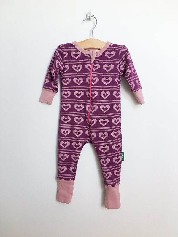 Parade Organics Pyjamas 3-6m / Gently Used Re-Cycle Violet Heart Knit '2-Way' Zipper Romper
