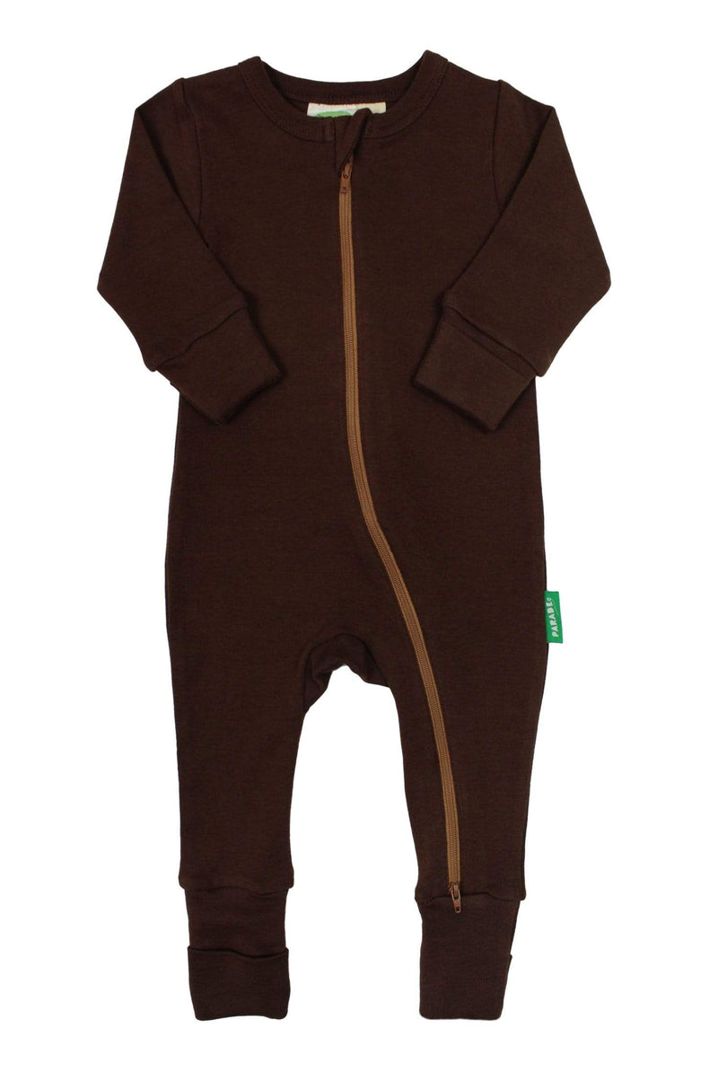 Parade Organics Pyjamas Essential Basic '2-Way' Zipper Romper - Chocolate