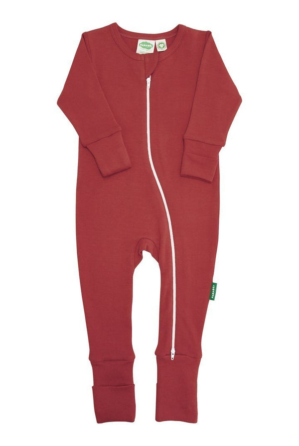 Parade Organics Pyjamas Essential Basic '2-Way' Zipper Romper - Cranberry