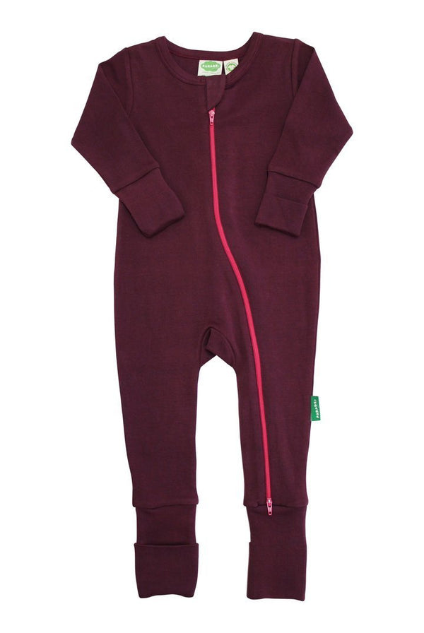 Parade Organics Pyjamas Essential Basic '2-Way' Zipper Romper - Wine