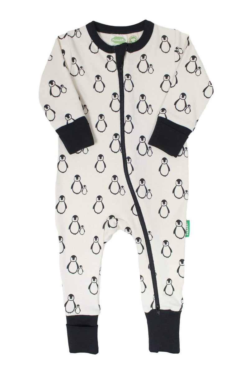 Parade Organics Pyjamas Long Sleeve '2-Way' Zip Romper - Black Penguins