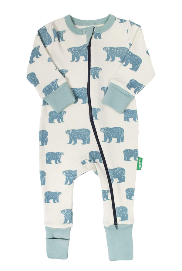 Parade Organics Pyjamas Long Sleeve '2-Way' Zip Romper - Blue Bears