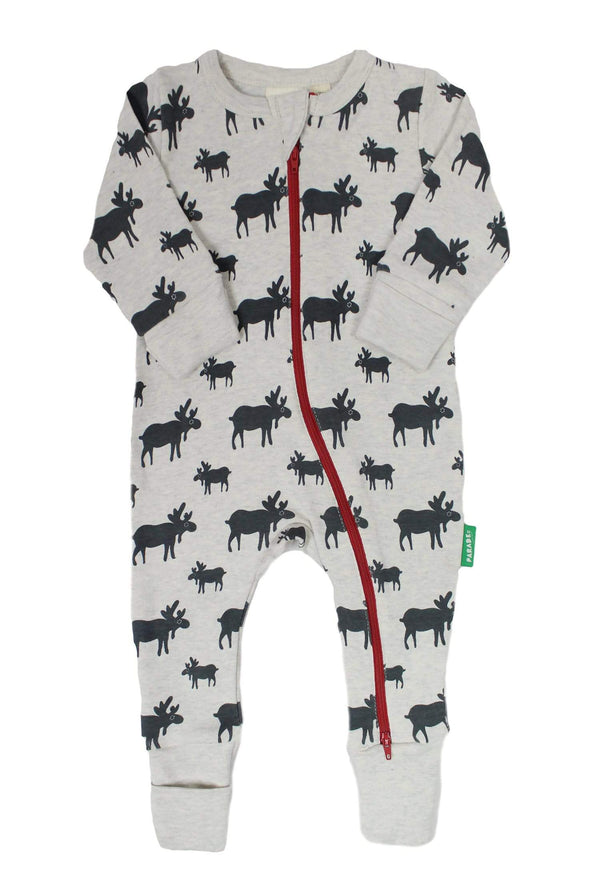 Parade Organics Pyjamas Long Sleeve '2-Way' Zip Romper - Grey Moose