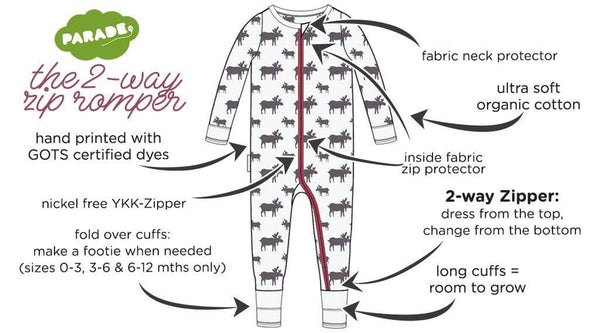 Parade Organics Pyjamas Long Sleeve '2-Way' Zip Romper - Plum Bears