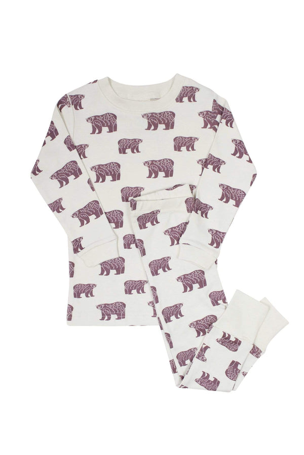 "Parade Organics Pyjamas ""My Jammies"" Organic Kids Pajamas - Plum Bears"