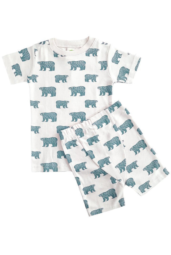 "Parade Organics Pyjamas ""My Jammies"" Organic Kids Summer Pajamas - Blue Bears"