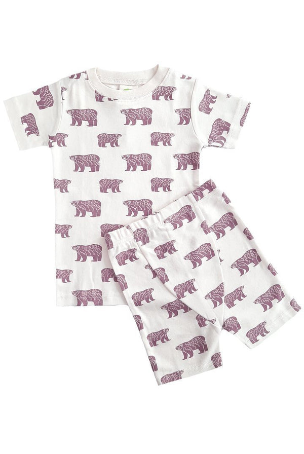 "Parade Organics Pyjamas ""My Jammies"" Organic Kids Summer Pajamas - Plum Bears"