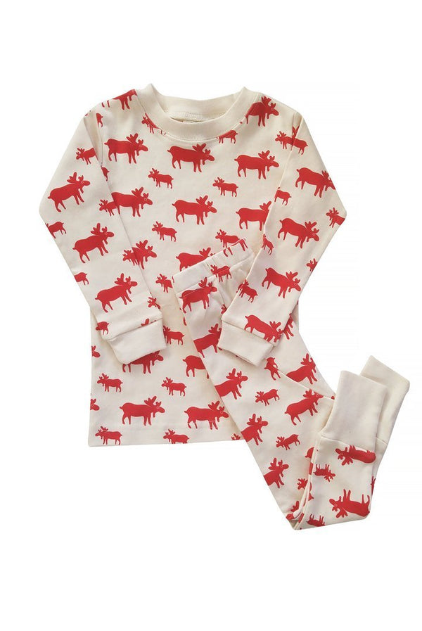 Parade Organics Pyjamas Organic Kids Pajamas - Natural Moose
