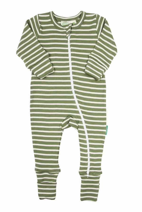 Parade Organics Pyjamas Signature Stripes '2-Way' Zip Romper - Breton Stripes Olive