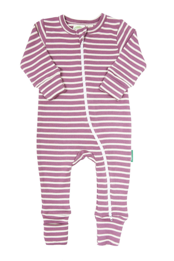 Parade Organics Pyjamas Signature Stripes '2-Way' Zip Romper - Breton Stripes Plum