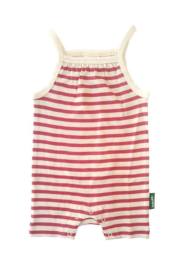 Parade Organics Rompers + Overalls 0-3m Berry Pink Breton Stripes Tank Romper