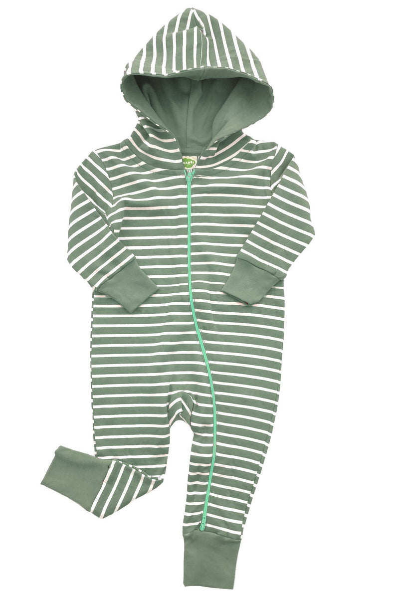 Parade Organics Rompers + Overalls 3-6m Breton Stripes Olive Hoodie '2-way' Zipper Romper