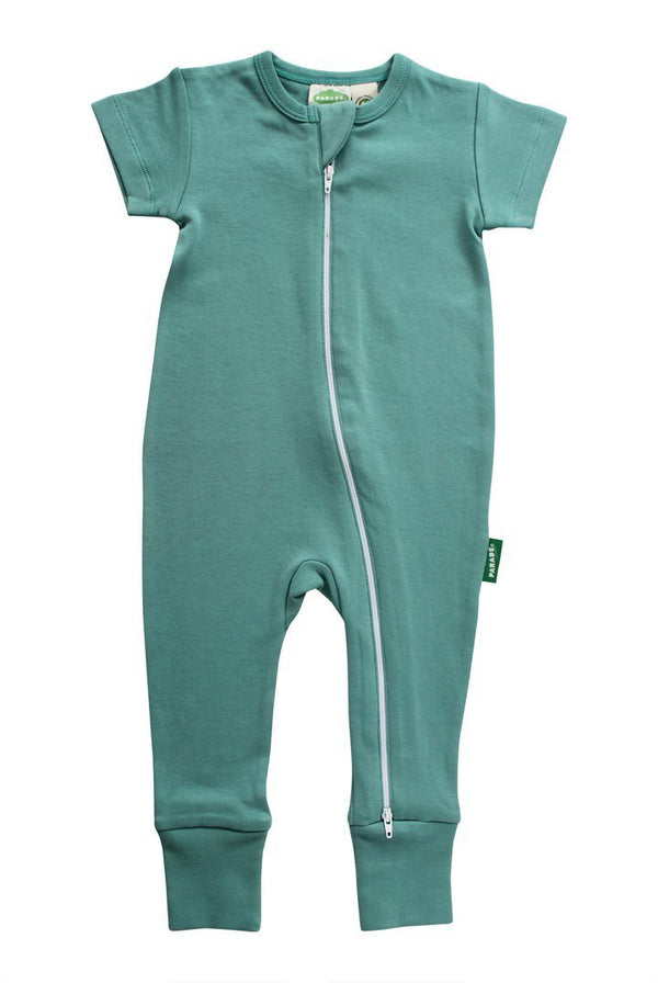 Parade Organics Rompers Summer Teal '2-Way' Zipper Romper Short Sleeve