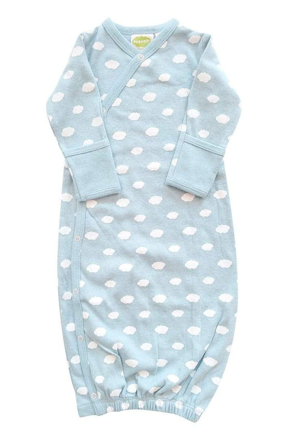 Parade Organics Sleep Gown 0-3m Kimono Gowns - Signature Prints - Clouds Blue