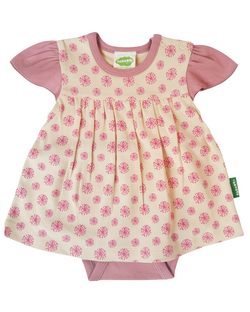 Parade Organics Tops + Bodysuits 3-6m Pink Dandelions Onesie Dress