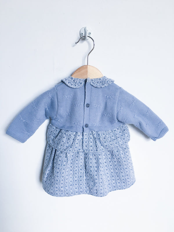 Paz Rodriguez Dresses + Skirts 3m / Gently Used Re-Cycle Knit Grey Blue Dress with Collar and Bow