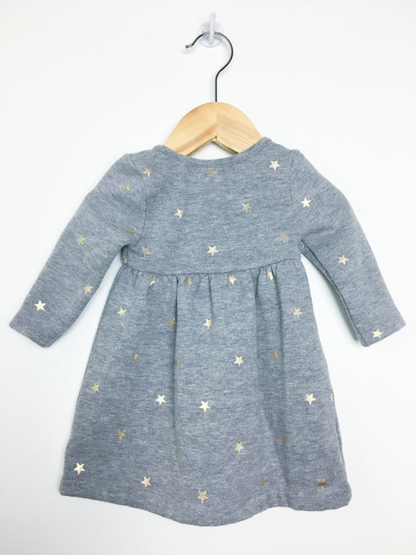 Peek Kids Dress 3-6m / Gently Used Re-Cycle Grey Dress with Gold Stars