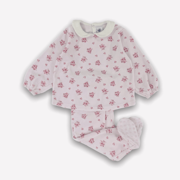 Petit Bateau 2 Piece 18m / Like New Re-Cycle Floral Pink 2 Piece Footed Lounge Set