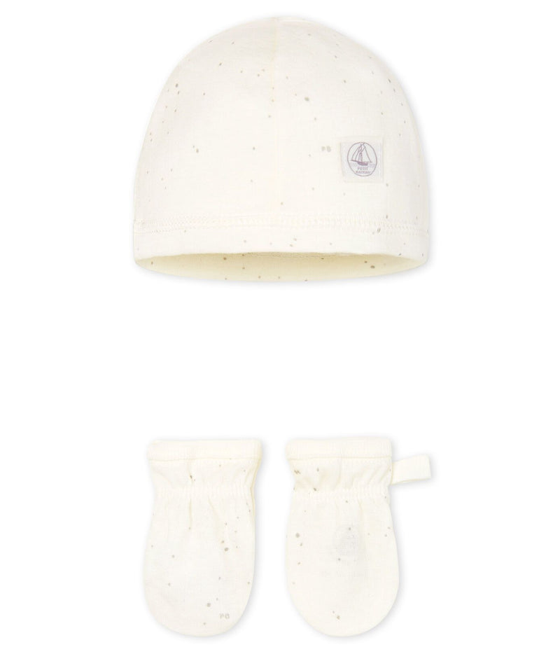 Petit Bateau Accessories NB Newborn Baby Bonnet and Mittens Set in Tube Knit