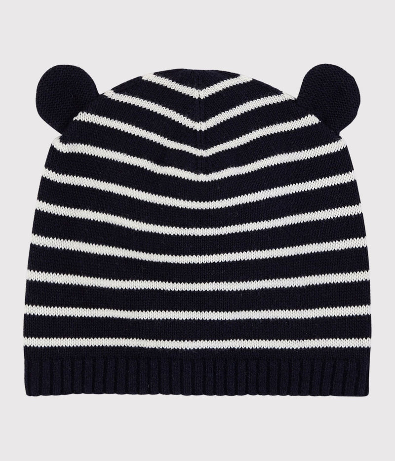 Petit Bateau Baby Hat 24-36m Blue and White Striped Baby Hat