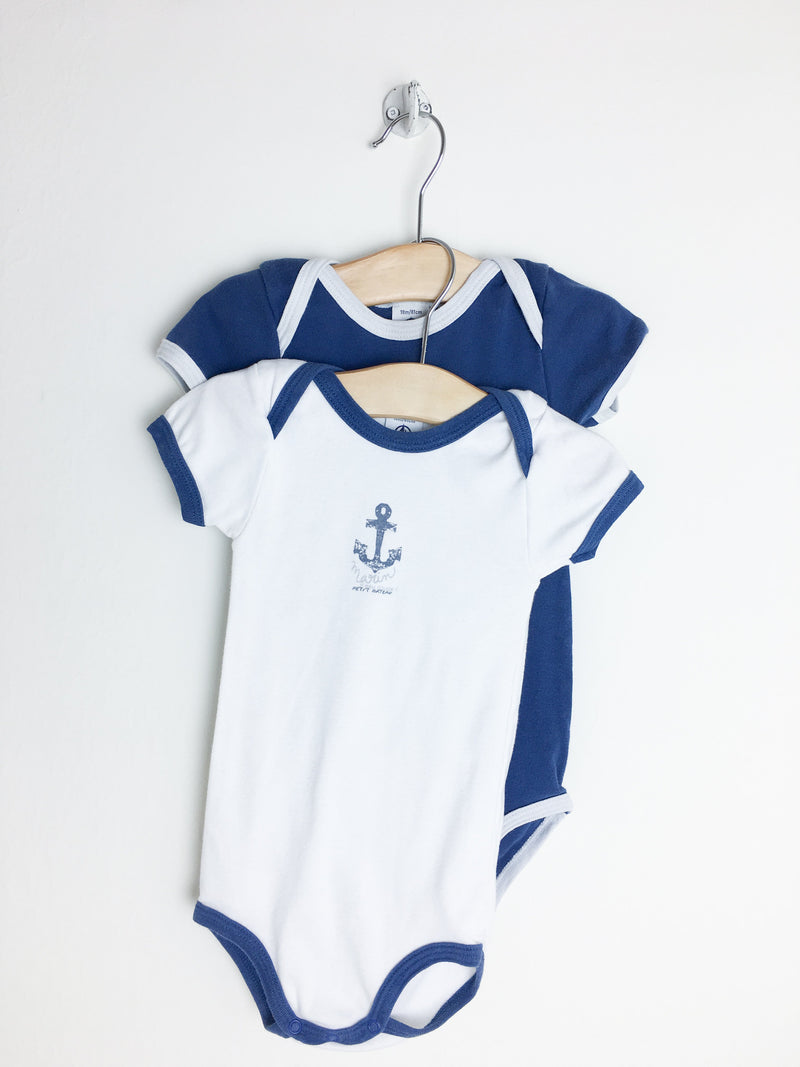 Petit Bateau Bodysuit 18m / Gently Used Re-Cycle Blue and White Bodysuit Duo