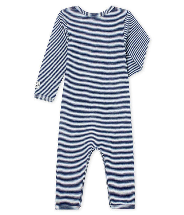 Petit Bateau Bodysuit Babies' Long-Sleeved Bodysuit in Cotton/Wool - Blue and White