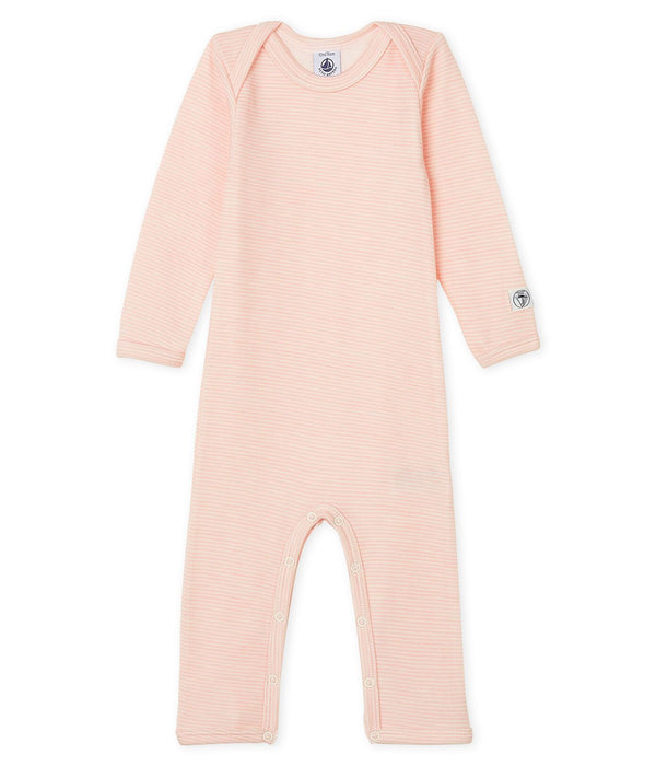 Petit Bateau Bodysuit Babies' Long-Sleeved Bodysuit in Cotton/Wool - Pink and White