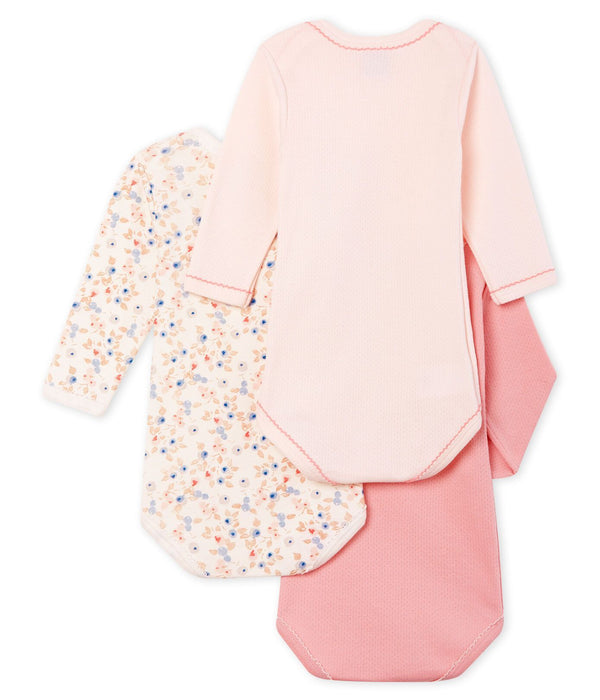 Petit Bateau Bodysuit Baby Girls Long-Sleeved Bodysuit - Set of 3