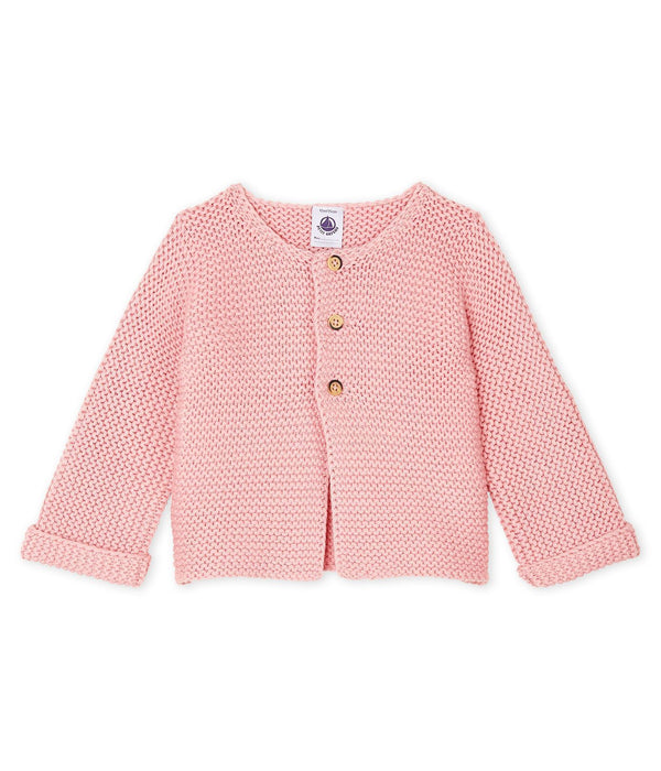 Petit Bateau Cardigan Baby Girl's Pink Wool/Cotton Moss Stitch Cardigan