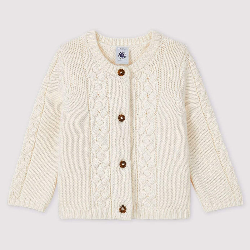 Baby Wool and Cotton Cardigan - White