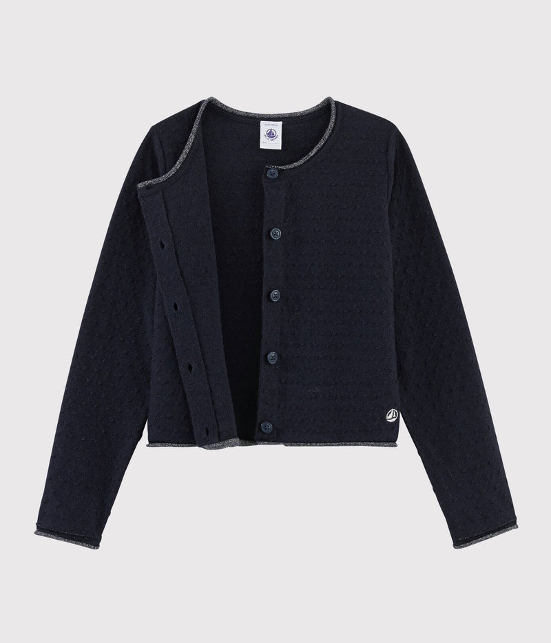 Petit Bateau Cardigan Wool and Cotton Cardigan - Smoking Blue