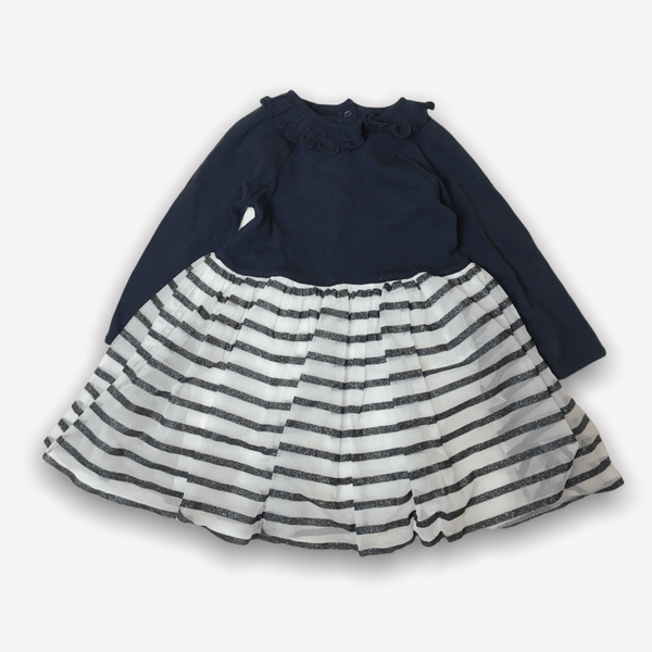 Petit Bateau Dress 18m / Like New Re-Cycle Baby Shiny Dual Fabric Dress