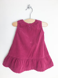 Petit Bateau Dress 3m / Gently Used Re-Cycle Raspberry Corduroy Baby Dress