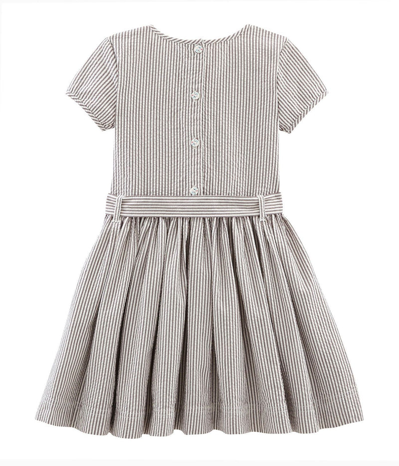 Petit Bateau Dress 4y Girl's Short Sleeve Seersucker Dress
