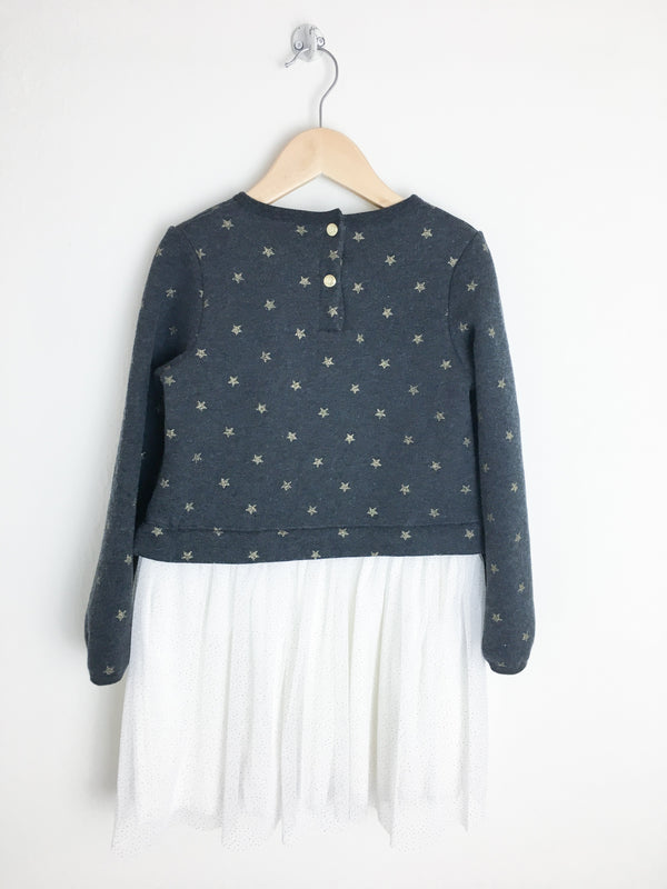 Petit Bateau Dress 6y / New with Tag Re-Cycle Star Dress with Tulle Skirt