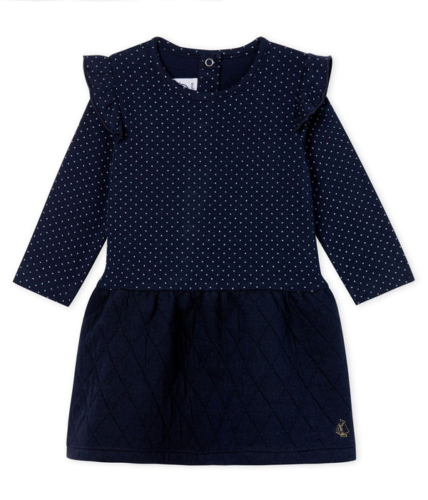 Petit Bateau Dress Baby Girls' Long-Sleeved Dual Material Dress
