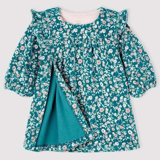 Petit Bateau Dress Baby Long Sleeve Floral Velour Dress - Mozaik/Multi
